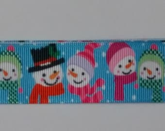 Snowman  - Christmas Ribbon - 1 Yard