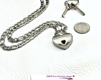 BDSM Day Collar 316L Stainless Steel FIGARO Dainty Chain with Smallest Mini HEART Padlock Closure Submissive Necklace