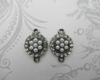 Strass & perle connecteurs - rond argent antique - pendentifs Style Vintage - 2 boucles - fournitures de bijoux rétro - Qté 2 * article neuf *