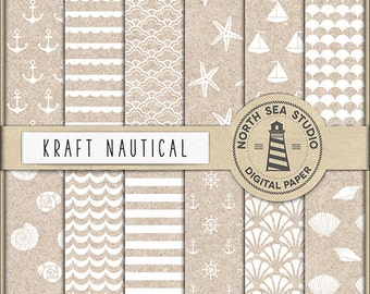 VINTAGE OCEAN, Nautical Scrapbook Paper, Nautical Patterns, Anchors, Sea Waves, Sea Stars, Sea Shells, Boats, Kraft Backgrounds BUY5FOR8
