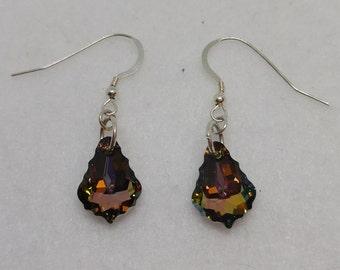 Sterling Silver Swarovski Baroque Crystal Twilight Earrings