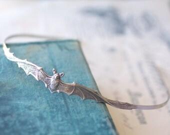 Bat headband vampire silver victorian gothic head piece Halloween hair accessory goth
