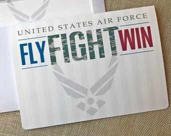 20#, Air Force Card, Basic Training Card, Military Encouragement Card, Fly Fight Win Card, Air Force Camo Card, Proud Air Force Mom Card