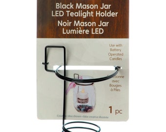 Mason Jar Tea Light Holder, Black, To Transform Mason Jars in to LED Candleholders