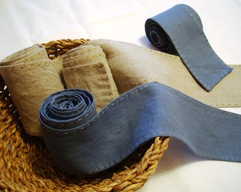 Leg wraps for Viking reconstructors of middle ages. hand sewn! 100% linen. Wickelbander Historical sources