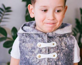 "Felted vest for the boy ""White Bear"""
