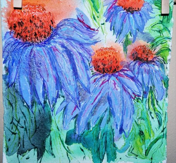 Painting, watercolor, Coneflower