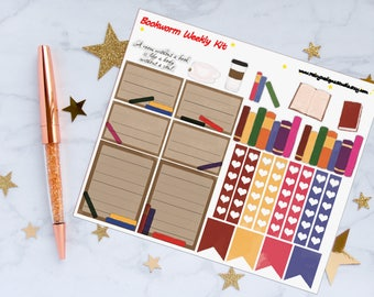 Bookworm Weekly Kit Planner Stickers, Book Stickers, Reading Stickers, Study Stickers, Vinyl Stickers