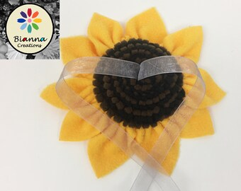 Wedding Sunflower Ring Pillow Alternative, Yellow Brown Black Flower Ring Bearer, Unique Ring Bearer, One-of-a-kind Ring Bearer