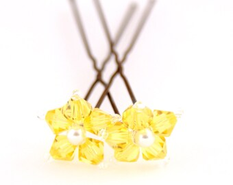 Sunflower Yellow Flower Hair Pins. Swarovski Crystal. Bridal Hair Pins. Wedding Hair Accessories.