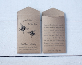 Plant these for the Bees Seed Packet Wedding Favors - Personalized Seed Envelope - Custom Rustic Wedding Favor - Many Colors Available
