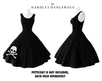 Sale! SKULL & CROSSBONES Swing Dress, Casual Stretch Knit Party Dress by Hardley Dangerous Couture, 1950s Style Pin Up Party Dress