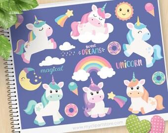 Unicorn clipart, magical, dreams, moon, kawaii sun, donuts, ice cream, rainbow, little pony, Commercial Use, Vector clip art, SVG Files