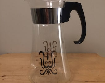 Pyrex Coffee Carafe with Gold Atomic Design, Vintage Mid Century Coffee Pot with 8 Cup Capacity- No Lid