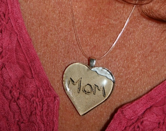 Mom Necklace Beach Writing Heart Written in the Sand Love Mother's Day