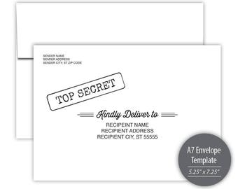 Top Secret A7 Envelope Template --- Instant Download --- Printable --- SKU# C115-IE2