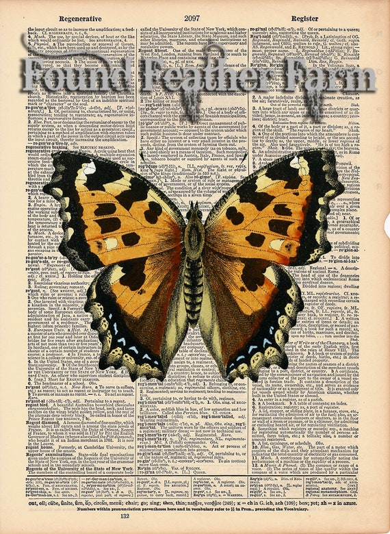 """Vintage Antique Dictionary Page with Antique Print """"Yellow Orange Butterfly"""""""