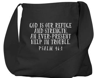 Psalm 46:1 Black Organic Cotton Slouch Bag