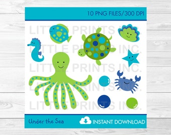 Cute Under The Sea Clipart / Under The Sea Baby Shower / Nautical Clip Art / Nautical Baby Shower / PERSONAL USE Instant Download A356