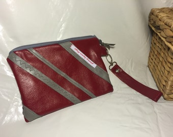 Red leather wristlet