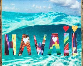 GLASSED, HAWAII, 4x4 and Up, Hand Painted, re-collaged artwork, wood panel, ocean, art, Wave, Ocean, Hawaiian Art, wall art, gift, Ocean,