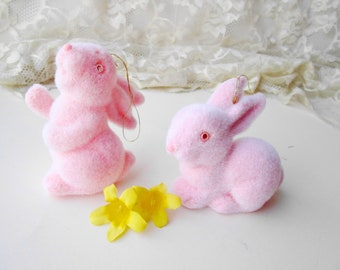Pink Bunny Rabbit Vintage Flocked Easter Bunny Ornament NOS Standing or Sitting Bunny Easter Decoration Keepsake Ornament Home Decor
