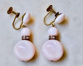 Rhnestone boucles d'oreilles et boucles rose opaline