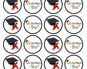 Graduation Edible Wafer Rice Paper Cake Cupcake Toppers x 24 PRECUT