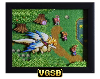Secret of Mana Shadow Box - Flammie - SNES - Super Nintendo - 3D Shadow Box Glass Frame - 12x10 - Christmas Gift - Sprite Art