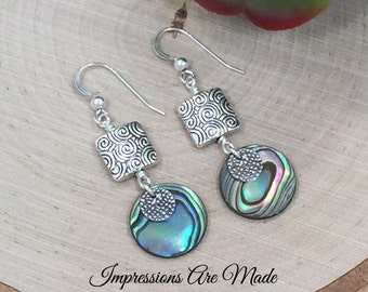 Abalone Earrings, Dangle Earrings, Drop Earrings, Ocean Earrings, Beach Earrings, Silver Earrings