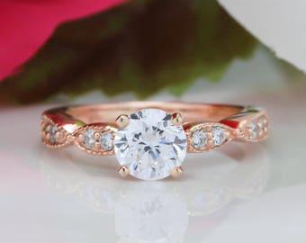 Rose Gold Moissanite Engagement Ring, Vintage Style Diamond Setting Forever One Center