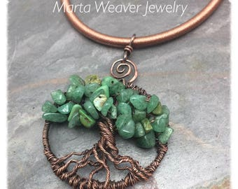 Mixed Green Gemstone Tree of Life Wire Wrapped Necklace, Free Shipping in USA