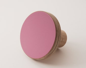 Wooden colourful knob, for cabinets, kitchen cupboard doors, purple