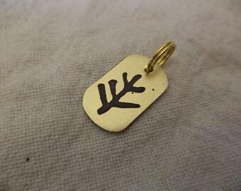 Elder Rune Etched Brass Charm