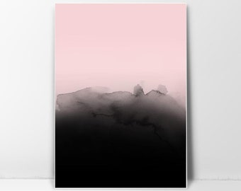 Abstract Watercolor, Ink Print, Wall Art Abstract, Printable Watercolor, Watercolor Print, Ink Wall Print, Pink, Black, Digital Download