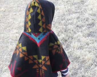 Black Tri color PONCHO with hood