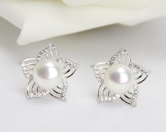 Pearl earrings for bridesmaids,crytal filigree flower pearl stud earring,bridal jewelry bridesmaid earrings,large pearl earrings nickle free
