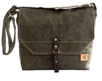 Green, Mens Messenger Bag,Waxed Canvas Bag, Messenger Bag Men, Waxed Canvas Messenger Bag, Laptop Mens Bag, Mens Canvas Messenger Bag, Field