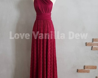 Bridesmaid Dress Infinity Dresses Wine Red Lace Floor Length Maxi Wrap Convertible Dress Wedding Dress
