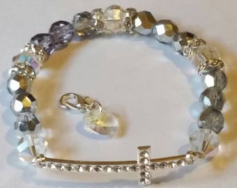 Religious Christian Jewelry Cross Heart Bracelet Religious Jewelry Christian Bling BR37