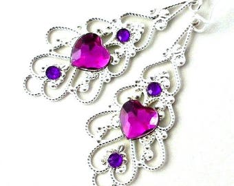 Violet purple earrings, purple heart, silver filigree, romantic gift for her, sparkly birthday present