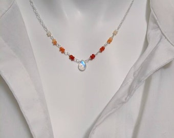 Moonstone necklace and Mexican fire opal gemstones. You're choice of gold filled or sterling silver