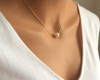 Floating Pearl Necklace In Gold Chain With 10mm Cream Rose Swarovski Crystal Pearl
