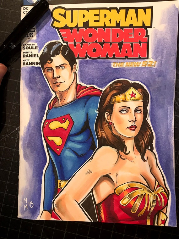 Superman and Wonder Woman Original Art Sketch Cover