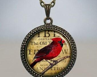 Redbird Collage necklace, redbird necklace, redbird pendant, Cardinal jewelry, Cardinal pendant, Cardinal necklace totem jewelry