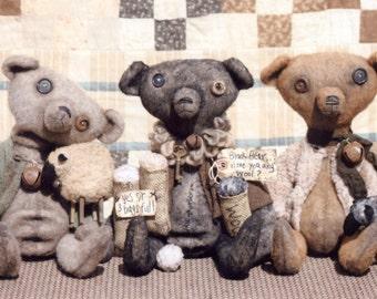Primitive PATTERN Warm & Wooly Teddy Bears