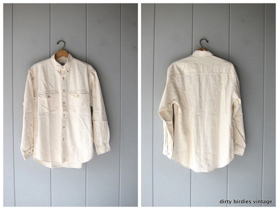 White Painters Shirt Vintage 90s Thick Cotton Button Down Mens Gap Oxford Minimal Button Up Shirt Natural Cream Top Work Shirt Mens Medium