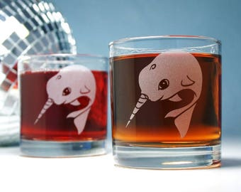 Narwhal Lowball Glasses -  Set of 2