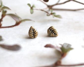 Leaf Earrings, Leaf Stud Earrings, Botanical Jewelry, Leaf Shaped Post Earrings, Nature Jewellery, Tiny Gold Studs, Affordable Jewelry