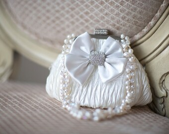 Wedding Handbag, Bridal Purse, Wedding Purse, Bridal Hand Bag, Bridal Clutch, Ivory Satin Clutch